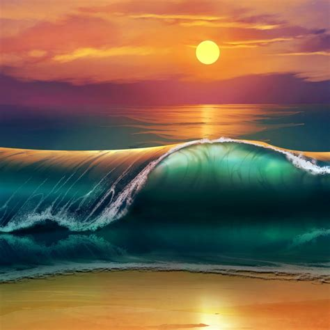 wallpaper beach sunset waves sea ocean  creative