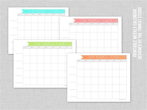 free printable weekly family calendar the tomkat studio blog