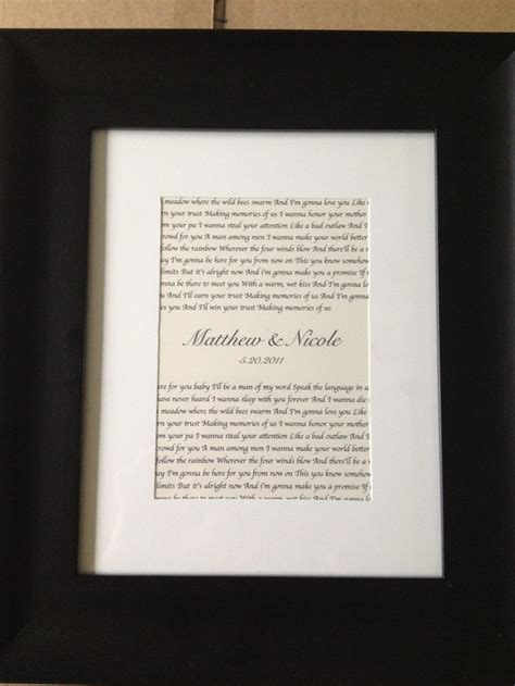 Wedding Song Framed by Wedding Song Lyrics Framed Ideas