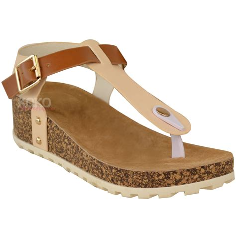 Sendal Wedges Pnc 1 new womens wedge comfort sandals cushioned flip flops footbed shoes size ebay