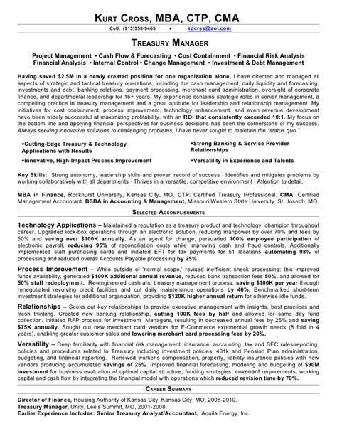 Treasury Officer Sle Resume by Treasury Management Resume 28 Images Treasury Manager Resume Keller Paul J Resume Sle
