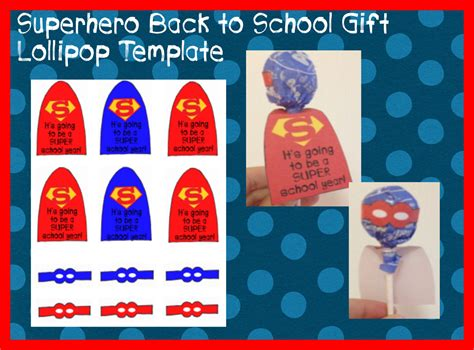 superhero lollipop printable template back to school student