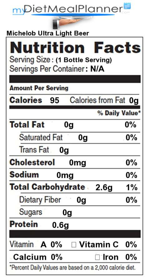 Calories In Michelob Ultra Light nutrition facts label beverages 17 mydietmealplanner
