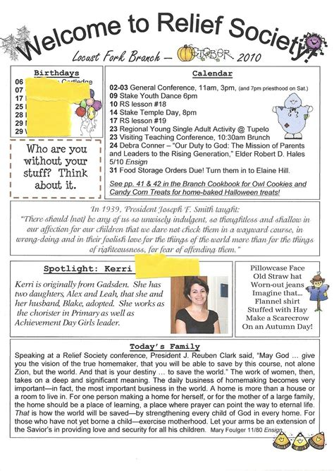 Relief Society Newsletter Template Free Relief Society Newsletter Ideas Homemaker S Journal Relief Society Newsletter Template Free