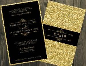 black and gold wedding invitation glitter wedding