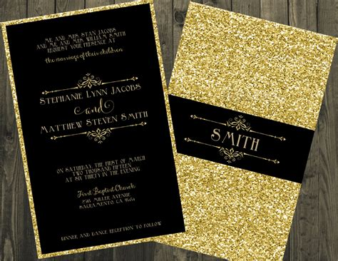 Gold Wedding Invitations by Black And Gold Wedding Invitation Glitter Wedding