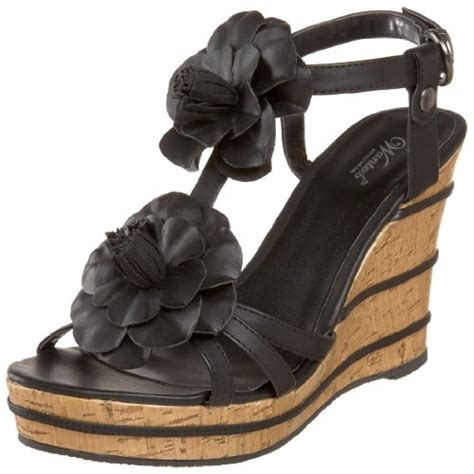 wanted shoes women s wedge sandal black