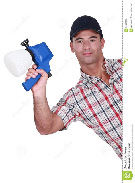 paint man man holding paint sprayer stock photo image 52682763