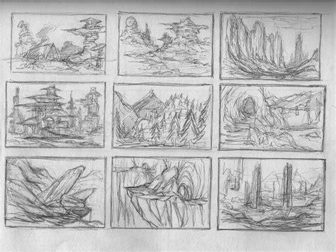 4 Thumbnail Sketches by Sainez Environment Thumbnail Sketches