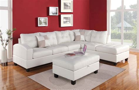 sectional sofa kiva white bonded leather ottoman