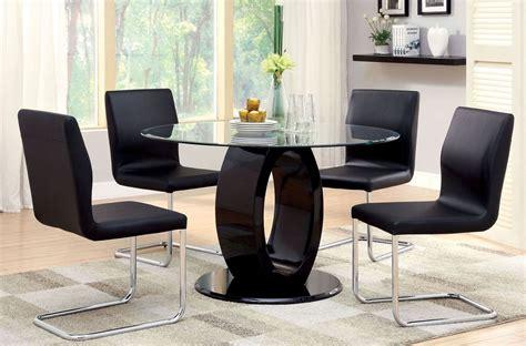 Lodia Set lodia i black glass top pedestal dining room set