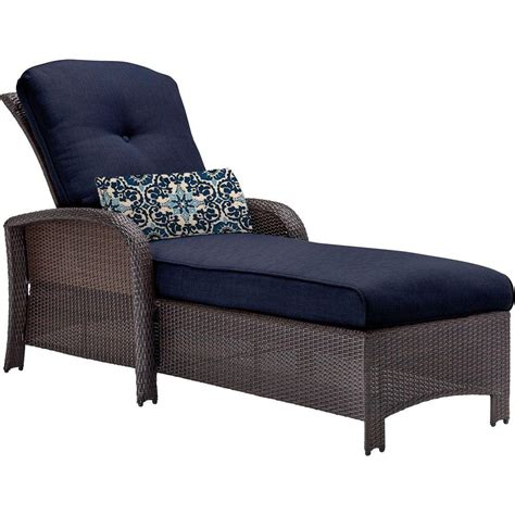 Outdoor Chaise Lounge Hanover Strathmere All Weather Wicker Patio Chaise Lounge With Navy Blue Cushion Strathchsnvy