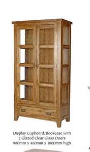 Rustic Bookcase With Doors Florence Rustic Oak Display Cupboard Bookcase With Glass Doors Blue Interiors