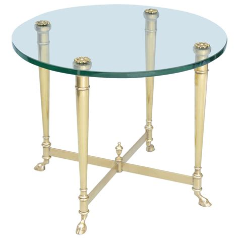 terrace side table glass antique brass polished brass end table with glass top on hoffed feet