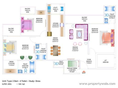 study room floor plan ajnara daffodil sector 137 noida apartment flat project propertywala