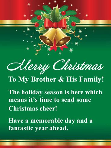 golden holiday bells merry christmas card  brother  family  lovely christmas card
