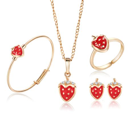 Perhiasan Anak Set Strawberry Aaks273 gold color jewelry sets strawberry pendant necklace