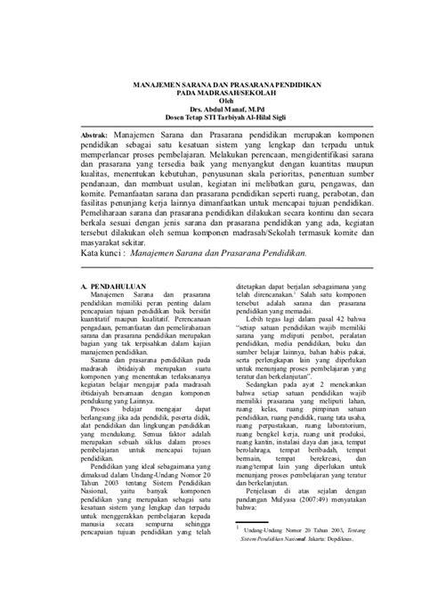 format laporan sarana prasarana sekolah jurnal sarana dan prasarana pendidikan