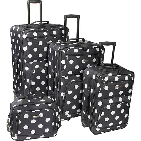 rockland luggage dots 4 piece luggage set multiple blue rockland luggage polka dot 4 piece expandable luggage