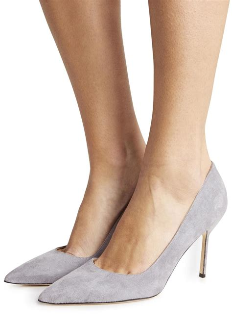 Manolo Blahnik Bb Light Grey Suede Pumps In Gray Lyst