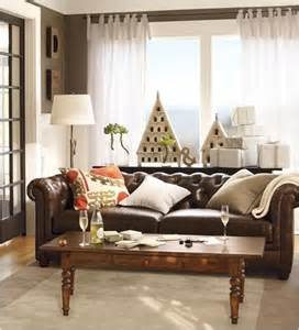 Pottery Barn In Home Design Reviews by Decorating Around A Leather Sofa Centsational