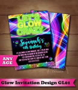 Neon Invitation Template by Glow Birthday Invitation Neon Glow Birthday