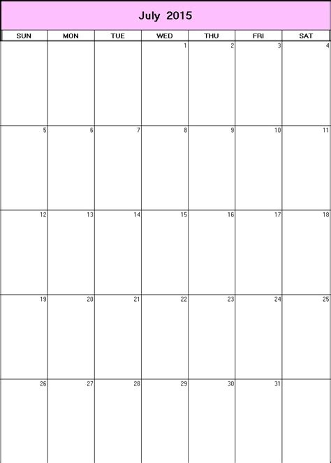 printable weekly calendar july 2015 july 2015 printable blank calendar calendarprintables net
