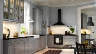 Grey Kitchen Cabinets Ikea A Traditional L Shaped Kitchen With Grey Cabinets Design And Ideas