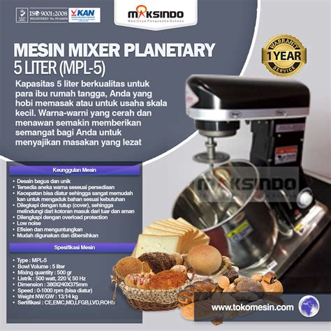 Mixer Roti Surabaya jual mesin mixer planetary 5 liter mpl 5 di surabaya