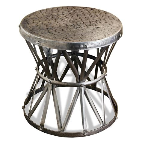 Silver Side Table Araby Rustic Hammered Metal Antique Silver Side Table Large Kathy Kuo Home