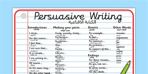 persuasive writing word mat arabic translation arabic