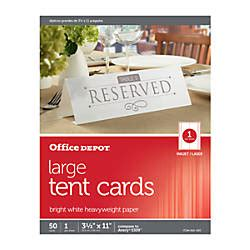 Office Depot Brand Inkjetlaser Tent Cards Large 3 12 X 11 Office Depot Flyer Templates