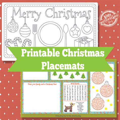printable christmas placemats to color printable christmas placemats free kids printable