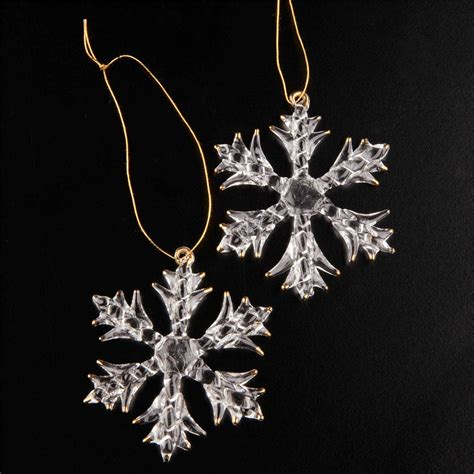2 luxury large crystal glass snowflakes christmas