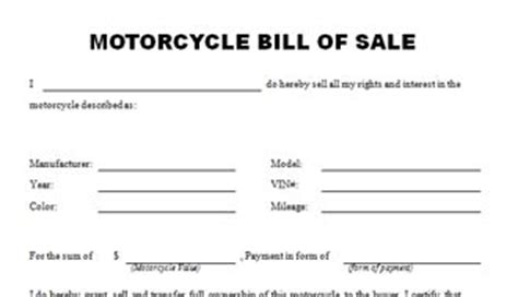 motorcycle bill of sale template the best free motorcycle bill of sale