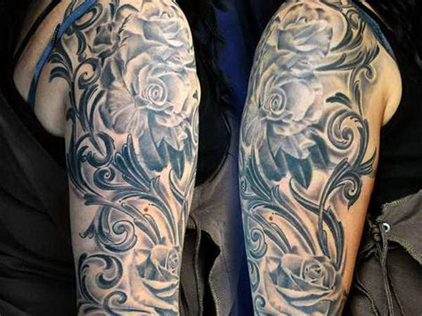 black and grey shaded rose tattoos black and grey shading makes this lovely sleeve
