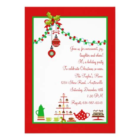 christmas party invitation 5 quot x 7 quot invitation card zazzle