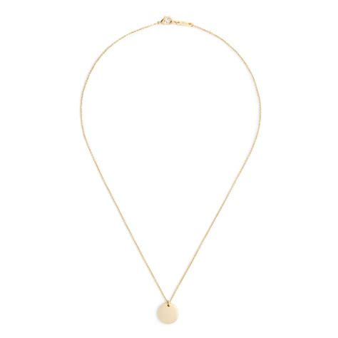 j crew 14k gold circle charm necklace with 16 quot chain in