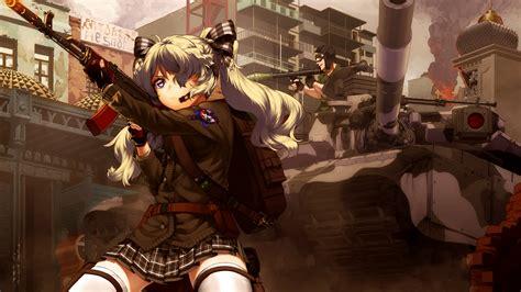 anime war original characters anime girls anime weapon tank