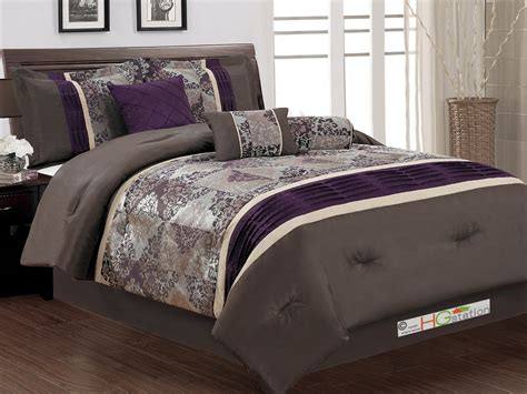 purple queen bed set 7 pc floral damask jacquard patchwork pleated comforter