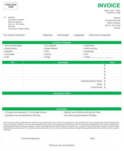 computer repair receipt template computer repair invoice template