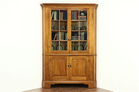Cupboard Glass - walnut 1840 antique corner cabinet or cupboard wavy glass