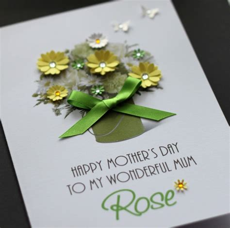 mothers day cards personalised handmade mothers day large handmade personalised green bouquet mother s day