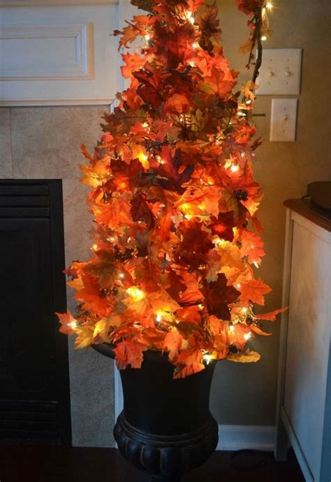 tomato cage tree lights easy diy fall leaves potted topiary tree from a tomato