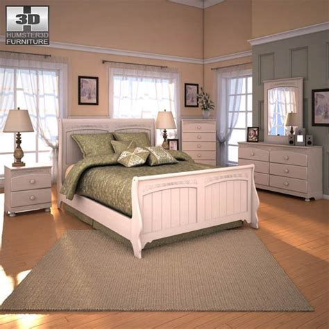 ashley furniture cottage retreat bedroom set ashley cottage retreat sleigh bedroom set 3d model humster3d