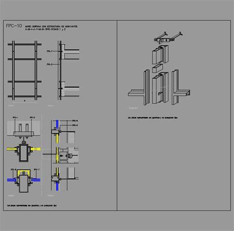 muro cortina dwg cad projects biblioteca bloques autocad fpc 10 muro