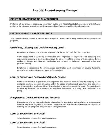 8 Housekeeping Job Description Sles Sle Templates Cleaning Duties Template