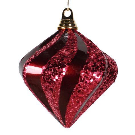 burgendy glittery christmasballs vickerman 33690 6 quot burgundy glitter swirl tree ornament m133205
