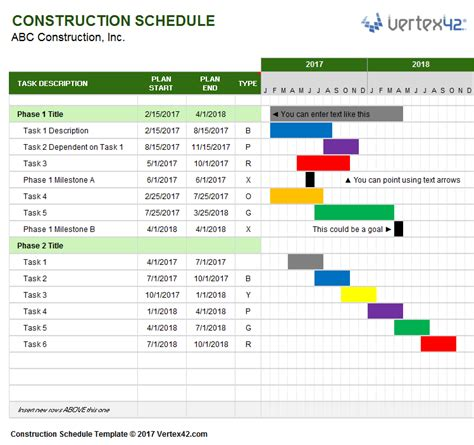 management schedule template a free construction schedule template from