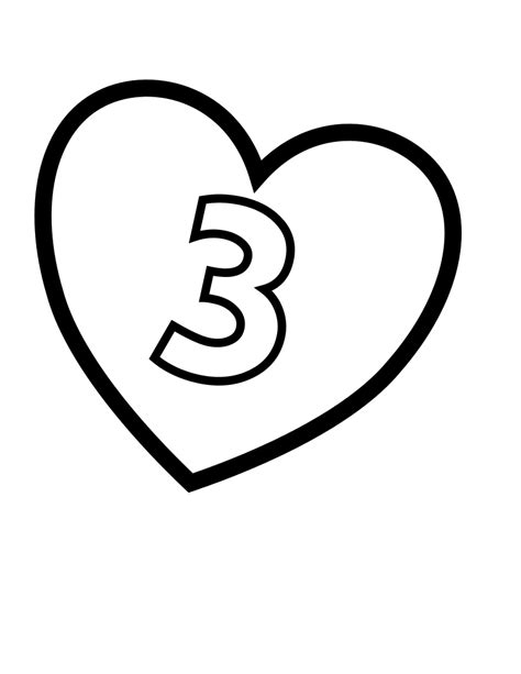 file valentines day hearts number 3 at coloring pages for